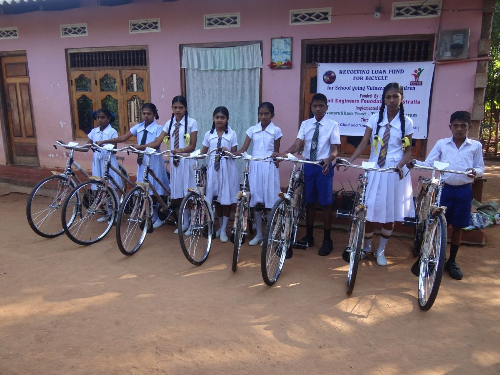 Donation of 10 Bicycles to CCYE/Sivan Arul Illam for school children in Vani and Jaffna area